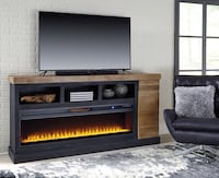 Tonnari Two-tone Brown XL TV Stand with Wide Fireplace Insert | W715-68 Houston, 77036