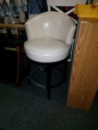 IVORY COLORED LEATHER COUNTER STOOL