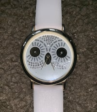 Owl CZ Round Leather Strap Wrist Watch Springfield, 22153
