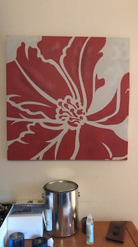 red flower painting Wilmington, 28409