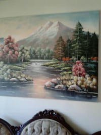 river near green leaf trees painting