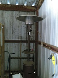 grey and brown patio heater