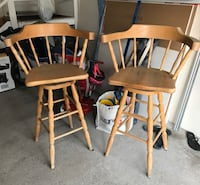 2 swivel top wooden bar stools ($15 for pair)  Toronto, M8W
