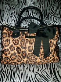 black and brown leopard print tote bag 547 km