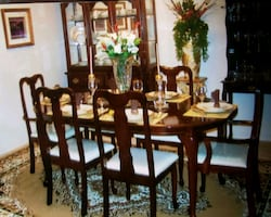 Cherrywood China Cabinet & Table with Leaf & chair