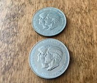 2 Large Commemorative Coins. 1981 Lady Diana & Prince Charles. Barrie
