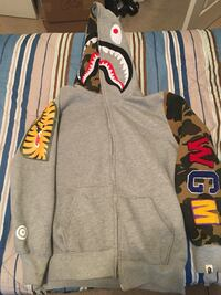 gray, brown, and black camouflage A Bathing Ape Shark zip-up hoodie