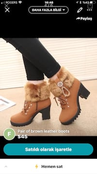 Black-and-brown leather chunky heeled booties screenshot Montreal, H1H 3R4