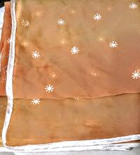 9ft scarf with small flowers gold trim sari