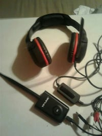 black and red corded headset