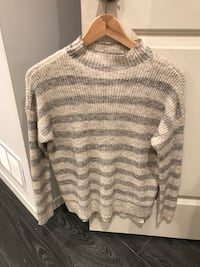 Gray and white stripe sweater American Eagle