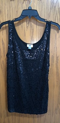 Black sequin tank top from old navy. Comes from a non-smoking home,  worn once. Size large.  The back of the tank top is plain. No sequins on back. Lakemoor, 60051