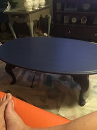 Solid oak/1970's retro coffee table chalked and 2 coats of wax 2279 mi
