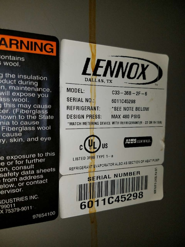 lennox dallas, tx model c33-36b-2f-6