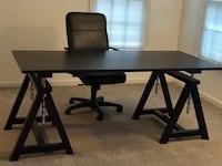 Rectangular black wooden table with two chairs Rockville, 20850