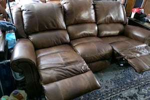 Brown leather power recliner sofa $550 (have 2)