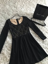 Bebe black dress  lace top fit and flare dress size small