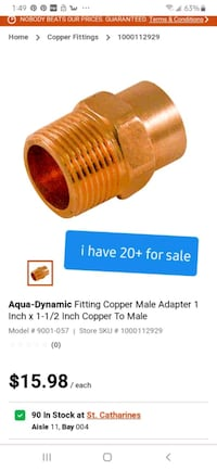 "1x1 1/2 )"" male copper adapters numerous quantities  St. Catharines, L2R 4K8"