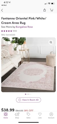 Pink and Cream Area Rug