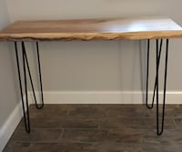 Wood slab table or desk with black hair pin legs Bedminster, 18947
