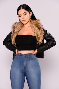 Fashionnova leather fur jacket  Toronto, M1N 1W6