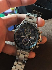 Round silver-colored chronograph watch with link bracelet Langley, V2Y