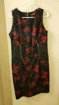 Black dress with red floral prints Toronto, M9A 4M6