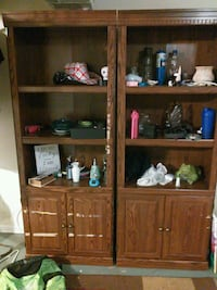 brown wooden TV hutch with flat screen television Omaha, 68104