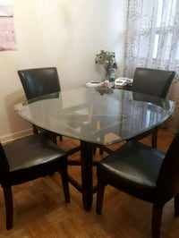 rectangular glass top table with four chairs dining set Toronto, M3C