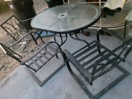 Patio table and chairs. Very strong and sturdy