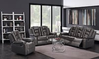 **NEW**Super Plush**Reclining Gray Leather Sofa & Love Seat **SALE**No credit needed** Essex