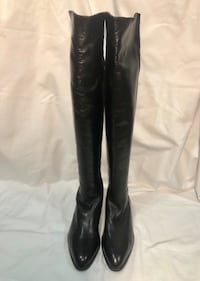 Made in Italy, Salmaso black Nappa over the knee leather tall boots, 5050 style, size 34.5, US 3.5 Markham, L6C
