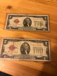 two 2 U.S. dollar banknotes Moraga, 94556