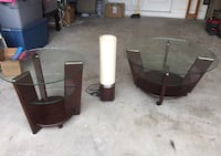 Two brown wooden base glass top tables Coral Springs, 33065