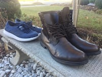 Adidas shoes and 100% leather brown boots