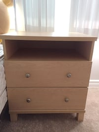 Light Brown Beige Wooden Bedside Table Silver Handles 2 Drawers London, N6A 2S5