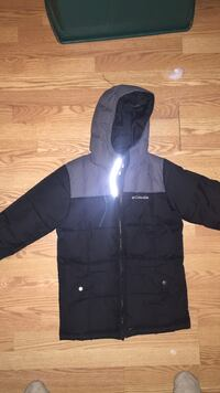 Black and gray columbia zip-up hooded jacket