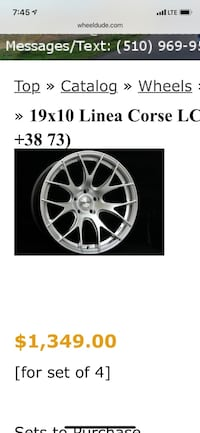 Linea Corse 19x10 +38mm wheels with Continental extreme contacts tires Alexandria, 22303