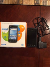 Black  Samsung Rugby Smart phone with box—never used Foxborough, 02035