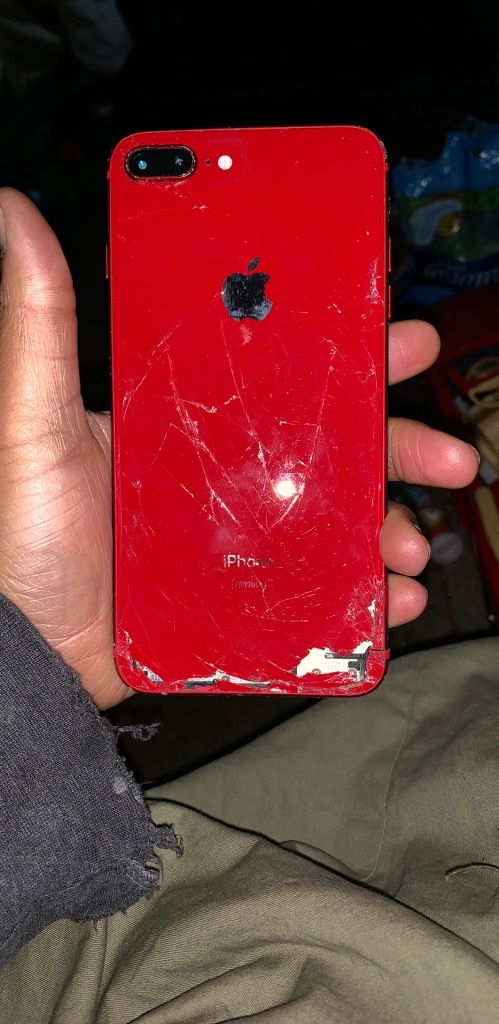 iPhone 8 Plus red locked thru carrier back badly cracked but works great