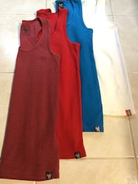 four assorted-color tank tops