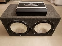 black and gray twin-speaker subwoofer Kitchener