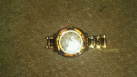 round gold analog watch with silver link bracelet Surrey, V4N