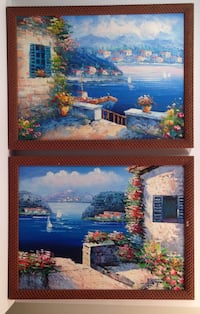 (2) Detailed Vacation Destination Village Seaside Cove Blue Oil Paintings Madison, 53704