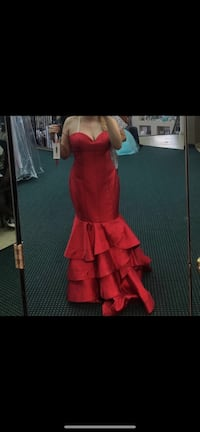Red Prom dress mermaid shape- Madison James Couture  Spring, 77388