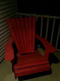 red wooden armchair