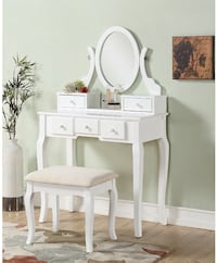 White vanity desk with mirror new in box