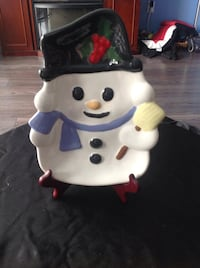 Handmade decorative snowman plate