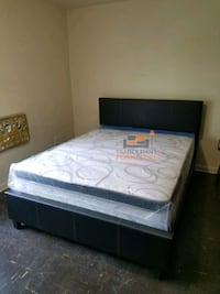 Brand New Queen Size Leather Platform Bed Frame + Pillowtop Mattress  Silver Spring, 20902