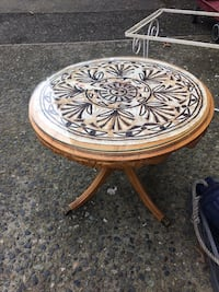 round white and black tribal print wooden table Duncan, V9L 1Y2
